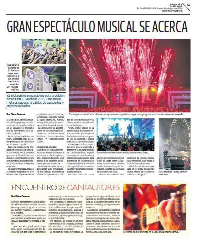 El Diario de Hoy de El Salvador anuncia encuentro de cantautores